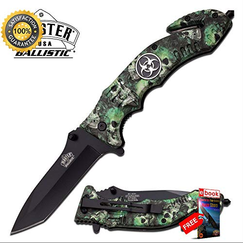 SPRING ASSISTED FOLDING POCKET Sharp KNIFE Black Tanto Blade Green Skull Biohazard EDC Combat Tactical Knife + eBOOK by Moon Knives