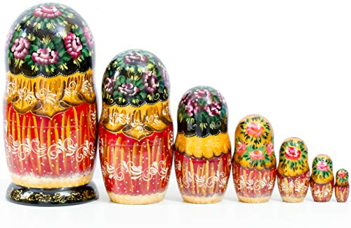 Nesting Doll - Russian Village - Hand Painted in Russia - Big Size - Wooden Decoration Gift Doll - Matryoshka Babushka (Design A, 8.25``(7 Dolls in 1)) by craftsfromrussia (Image #3)