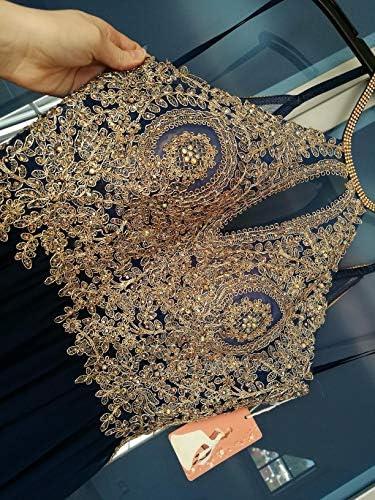 Forever Pretty Robe de soirée Longue en Mousseline de Soie pour Demoiselle d'honneur Col en V - Vert - 54