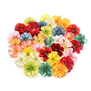 Fake flower heads in bulk wholesale for Crafts Artificial Silk Flowers Head Peony Daisy Decor DIY Flower Decoration for Home Wedding Party Car Corsage Decoration Fake Flowers 50PCS 4cm (Colorful) 64
