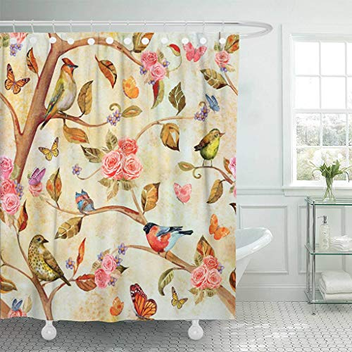 Emvency Fabric Shower Curtain with Hooks Colorful Vintage Shabby Chic with Fantasy Forest Watercolor Painting Flower Oriental 60
