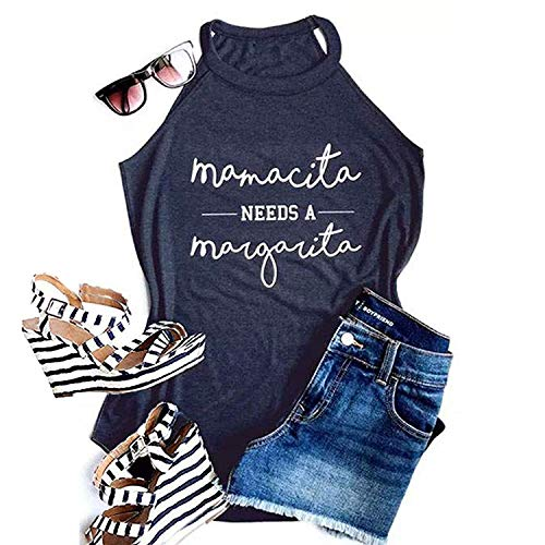 Mamacita Needs a Margarita Women Funny Shirts Workout Tops Graphic Beach Holiday Outfit Tees