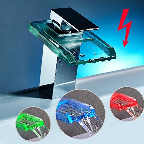 AuraLum® Niederdruck Wasserhahn LED RGB 3 Farbewechsel Wasserfall Armatur Glas Mischbatterie für Bad Badenzimmer Waschbecken