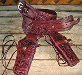 NEW Burgundy Wine Genuine Leather Double Western Tooled Single Action Gun Holster Cowboy SASS Rig. In 38/357 LC ammo loops By GUNS4US