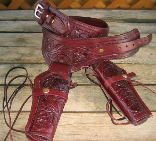 - New Burgundy Wine Genuine Leather Double Western Tooled Single Action Gun Holster Cowboy SASS Rig. in 38/357 LC Ammo Loops by GUNS4US