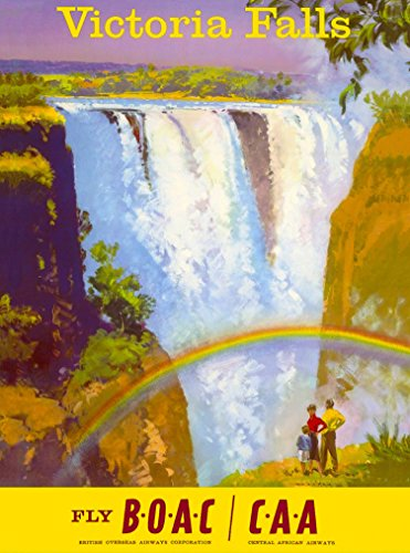 A SLICE IN TIME Victoria Falls Zimbabwe Africa African Fly BOAC Vintage Airline Travel Art Collectible Wall Decor Poster Advertisement Print. Measures 10 x 13.5 inches