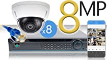 16 CH NVR with 8 4K 8MP Mini Dome Cameras 4K Kit for Business Professional Grade FREE 1TB Hard Drive