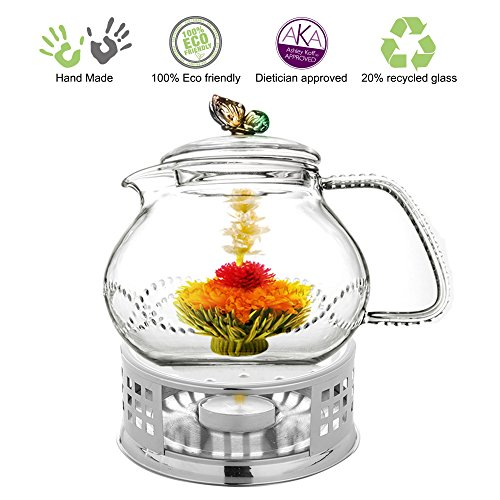 Glass Teapot with Tea Warmer Lead Free Special Glass No Drip by Tea Beyond (Metal, 24 oz Rainbow)