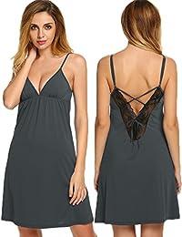 Ekouaer Sleepwear Women's Essentials Sexy Chemise Slip Nightgown