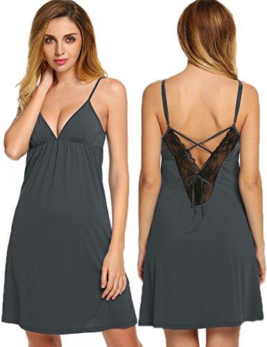 Chemise Slip lace Women's Gray Essentials Sleepwear Dark V Nightgown Ekouaer Sexy back zqXnZISxSw
