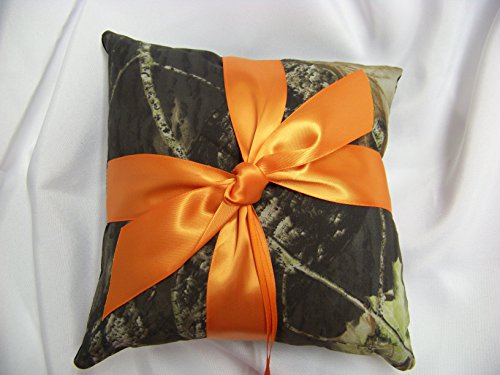 - Camouflage Ring Bearer Pillow with Orange Knot Bow