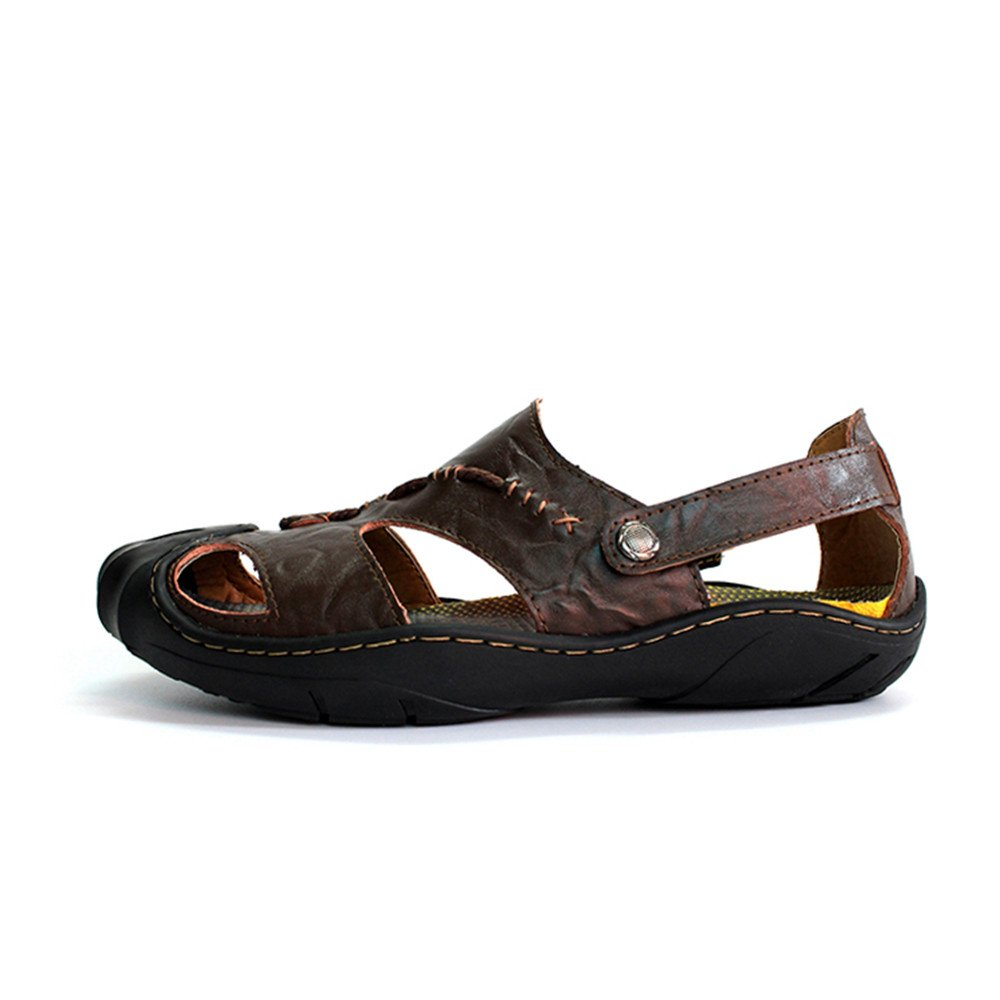 Mens Sandals, Men's Genuine Leather Beach Slippers Casual Casual Slippers Non-Slip Soft Flat Closed Toe Sandals Shoes No Glue (Color : Brown, Size : 7.5MUS) 7.5MUS Brown B07D8YCM2F a60f97