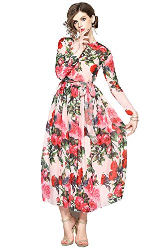 37918ef3142985 LAI MENG FIVE CATS Women s Floral Print Round Neck Long Sleeve Maxi Boho  Casual Tiered Hem