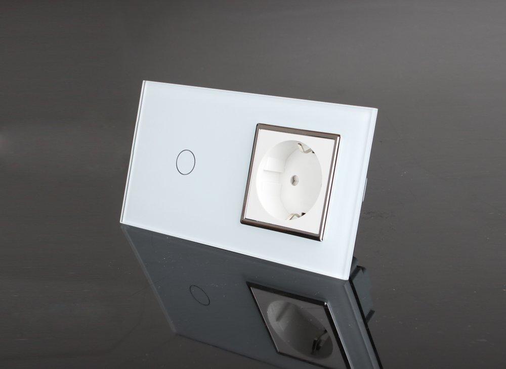 1-Weg Touch Lichtschalter / Steckdose, aus Glas in Weiß VL-C701-11 ...