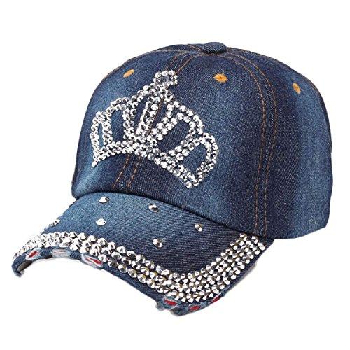 (LKXHarleya Women Bling Rhinestone Crown Baseball Hats Adjustable Washed Distressed Cotton Denim Caps Vintage Trucker Hat Snapback)