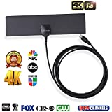 KINGELE HDTV Antenna,Indoor Digital TV Antenna (4K / 1080P / VHF/UHF / 35 Miles Range) and 10ft Coaxial Cable,Ultra Thin TV Antenna,Free Local Channels for Life for HDTV/TV - Black