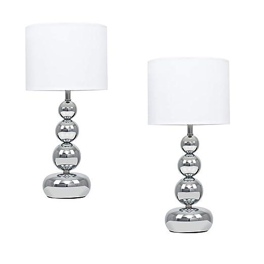 MiniSun - Set de 2 lámparas de mesa táctiles Marissa - De esferas apiladas en cromo pulido - Pantallas blancas de estilo seda