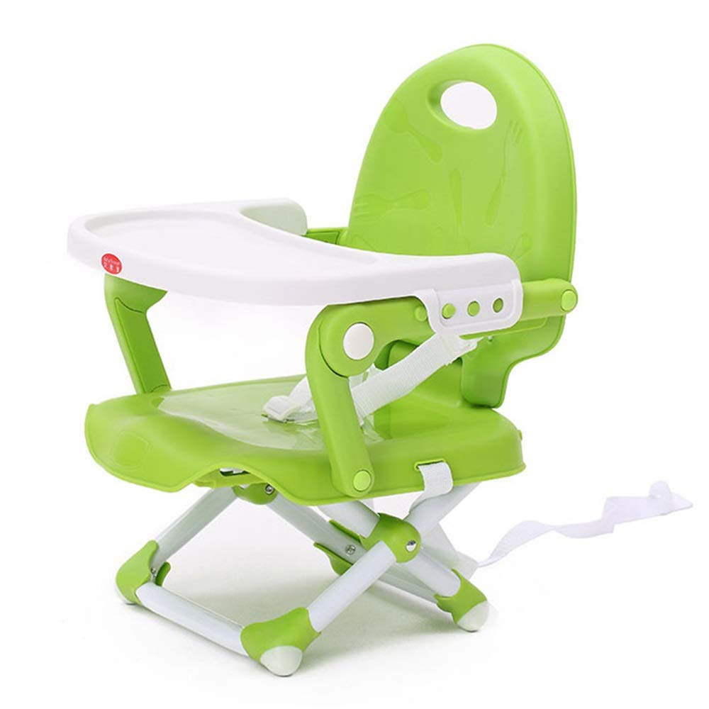 Kids' Desk & Chair Sets Removable Tray Height Adjustable Travel Booster Seat Feeding Dinning Chair Baby Infant Foldable High Chair (Color : Green, Size : 363436cm) by Liuxina