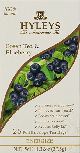 HYLEYS Tea Green Tea with Blueberry, 25 Count (Pack of 12) Review