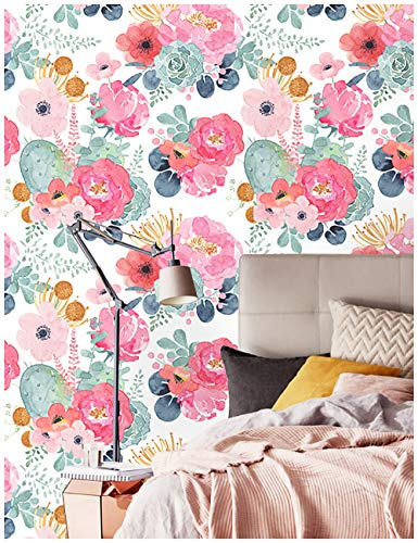 "HaokHome 93005-2 Peel and Stick Watercolor Floral Wallpaper White/Pink/Green/Navy Blue/Orange Vinyl Self Adhesive Prepasted Contact Paper Decorative 17.7""x 9.8ft"