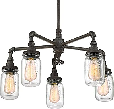 """Luxury Industrial Chandelier, Medium Size: 23""""H x 26""""W, with Shabby Chic Style Elements, Aged Pipe Design, Antique Black Finish and Mason Jar With Floral Pattern, UQL2663 by Urban Ambiance"""