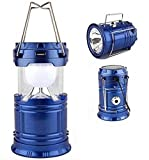 GTC 6 + 1 LED Solar Emergency Light Lantern + USB Mobile Charging +Torch point, 2 Power Source Solar, Lithium Battery, Rechargeable Travel Camping Lantern ( Blue ) Item no-5800