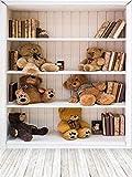 AOFOTO 6x8ft Bookcase and Toy Bears Background Teddy Bear Books Bookshelf Photography Backdrop Study Classroom Kid Baby Child Infant Boy Girl Adult Portrait Photoshoot Studio Props Video Drape Vinyl