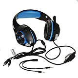 YRD Tech for PS4 GM-1 Gaming Headset Wired Earphone Gamer Headphone with Microphone 丨 Suitable for iPhone 6/6 Plus,Samsung S5,S4,LG,Xiaomi,iPad,PC,Laptop,Tablet丨 (Blue)