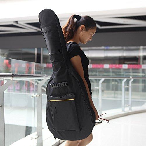Andoer 600D wasserabweisend Gig Gitarre Tasche Rucksack Schultergurte Taschen 5mm Baumwolle gepolstert schwarz für 39/40/41in Gitarre