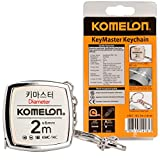 Komelon KMC-14C KeyMaster Tape Measure 2-Meter/Diameter Keychain Pocket Mini Key Chain Ring Chrome Coated Measuring Tool