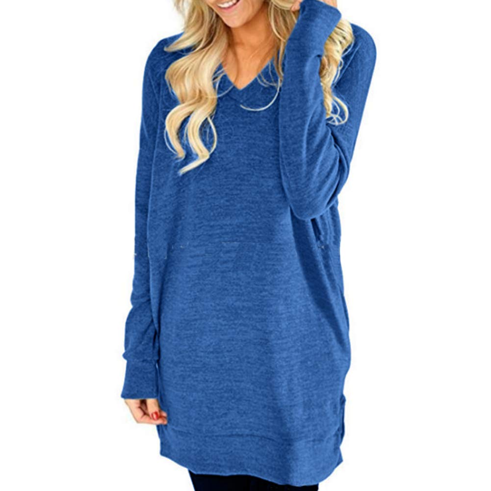 LisaChan Women's Fall Casual Loose V-Neck Tunic T-Shirt with Pockets