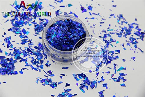 Kamas TCA705 Holographic Royal Blue Color Mylar Sheet Random Cut Size Flakes for nail decoration and other art DIY decoration - (Color: 500g)