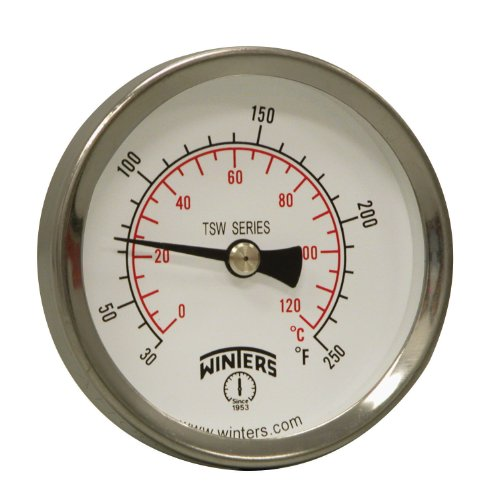 Dial Type Thermometer - Winters TSW Series Aluminum Dual Scale Hot Water Thermometer, Dial Type, 2-1/2