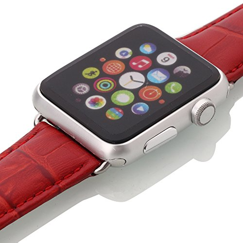 Apple Watch Band, oneCaseTM 42mm Genuine Leather Strap Wrist Band Replacement Watch Band with Metal Clasp for Apple Watch Sport Edition 42mm (42mm-Red)