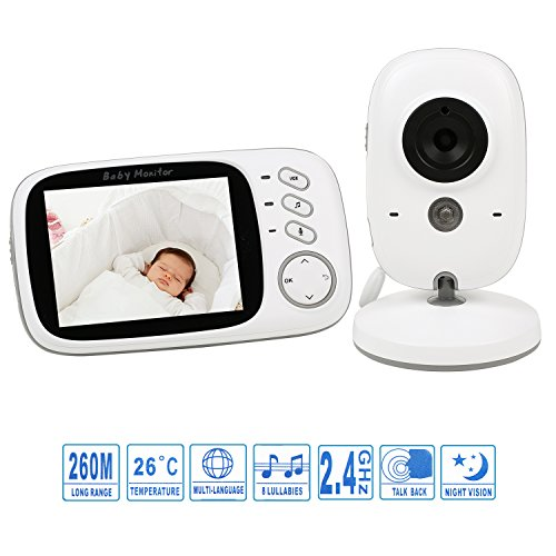 BabyGrowth Video Baby Monitor with Night Vision, Two Way Talk,Temperature Monitoring&Lullabies [3.2