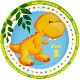 Little Dino 1st Birthday Dinner Plates (8)