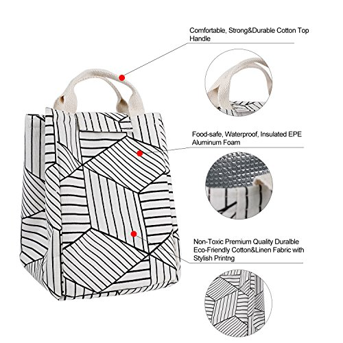 HOMESPON Reusable Lunch Bags Printed Canvas Fabric Insulated Waterproof Aluminum Foil, Lunch Box Women, Kids, Students (Geometric Pattern-White) by HOMESPON (Image #2)