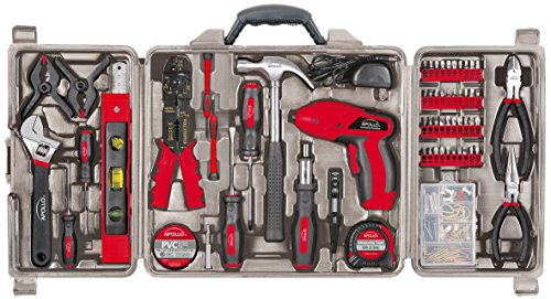 Apollo Tools DT0738 161 Piece Complete Household Tool Kit with 4.8 Volt Cordless Screwdriver and Most Useful Hand Tools and DIY accessories - Home Repair Tool Kit