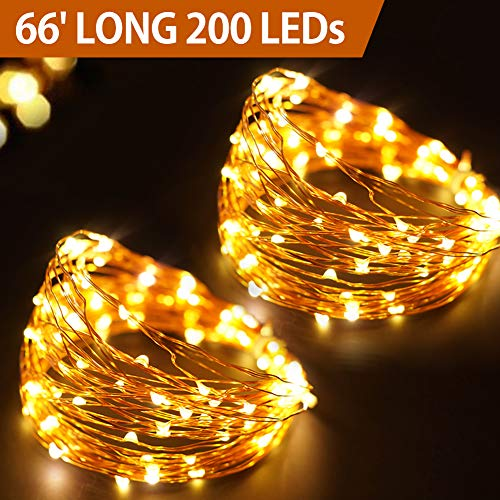 Bright Zeal 66' Long Warm White Copper Wire LED Battery String Lights with Timer - Warm White Fairy Lights Battery Operated Brown Wire Outdoor Waterproof LED String Lights Copper - LED Tree Lights