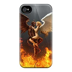 Iphone 4/4s Hard Back With Bumper Silicone Gel Tpu Case Cover Angel And Demon