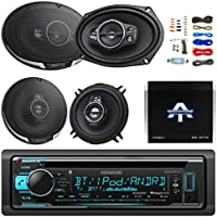 "Kenwood Single DIN Bluetooth CD/AM/FM Car Receiver Bundle Combo With 2x 6x9"" 5-Way Flush Mount Coaxial Speakers + 2x 5-1/4"" Audio Speaker + Optional Autotek 4 Channel Amplifier + 50Ft Speaker Wire"