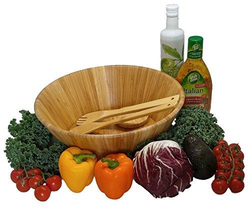 Large salad bowl. Mixing bowls. Bamboo bowl with serving spoons and dressing tray. Serving bowls. Prep bowls. Fruit bowl. Mixing bowl set. Wooden basket. Salad bowl set. by PremiumPresents (Image #1)