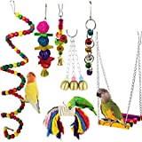 MQUPIN 7 Pieces Bird Swing Toys Parrot Cage Toys Swing Hanging Toys Bell Natural Wood Hammock Hanging Perch for Small Medium Birds Parakeets Cockatiels,Conures, Macaws, Parrots, Love Birds, Finches