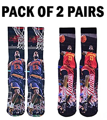 Forever Fanatics Cleveland Lebron James #23 Basketball Crew Socks ? Pack of 2 Home & Away ? Lebron James Autographed ? One Size Fits All Sizes 6-13 ? Perfect Gift