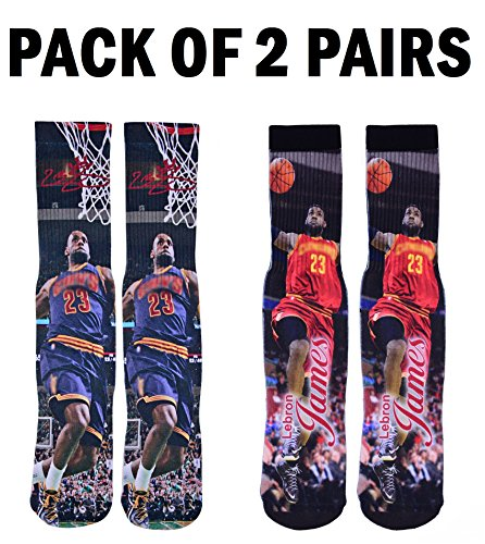 Forever Fanatics Cleveland Lebron James #23 Basketball Crew Socks ✓ Pack of 2 Home & Away ✓ Lebron James Autographed ✓ One Size Fits All Sizes 6-13 ✓ Perfect Gift – DiZiSports Store