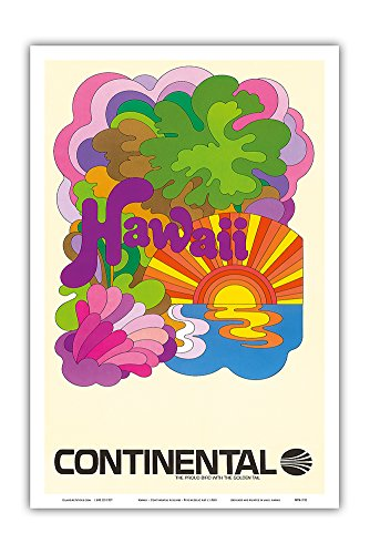 Hawaii - Continental Airlines - Psychedelic Art - Vintage Airline Travel Poster c.1960s - Hawaiian Master Art Print - 12 x 18in