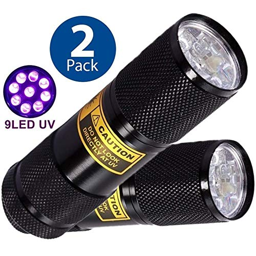 Bright Eyes 2-PACK - Best Black Light - Top UV Pet Urine Stain Detector - Head Lice or Bed Bug Revealer (Aluminum, 9 LED) by Bright Eyes