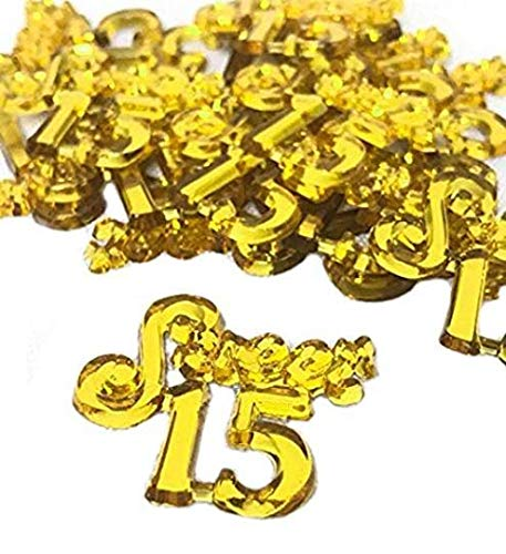 (48 Gold Mis Quince Anos Sweet 15 Charms Embellishment Number for Capias Favors Acrylic Confetti)