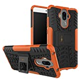 Heartly Huawei Mate 9 Back Cover Kick Stand Rugged Shockproof Tough Hybrid Armor Dual Layer Bumper Case - Mobile Orange