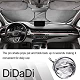 Quality Assured Sun Shade For Front Windshield Window by DidaDi. 3 Sizes: 59 x 27, 33, 35 inch Fit All Vehicles such as Any TOYOTA, HONDA, FORD, BMW etc. Keep Cool & Protect From Sun, Ice or Snow